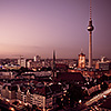 The graceful Television Tower dwarfs the other buildings on the Berlin skyline.